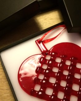 Glasjulehjerte i gaveæske