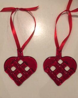 sæt med 2 små julehjerter