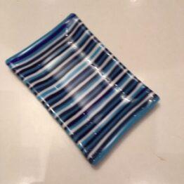 Stor blå stribet sæbeskål